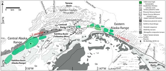 Figure 2. Regional geological map of central Alaska. High topography within the central Alaska Range is located mainly to the south of the DFS whereas high topography within the eastern Alaska Range is located to the north at the junction between the DFS and the Talkeetna thrust fault.