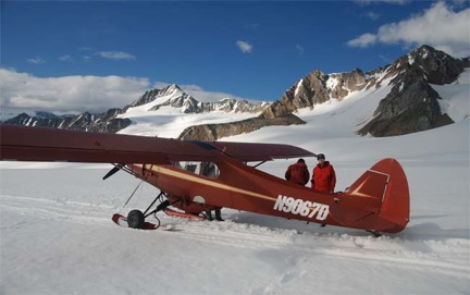 Jeff and Stephanie on the Black Rapids Glacier, eastern Alaska Range – ready to collect more samples (Photo Paul Fitzgerald)