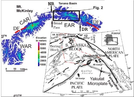 Figure 1. DEM of the Alaska Range (flooded to 1000 m). Inset: Tectonic map of southern Alaska, red dashed line is the outline of the subducted Yakutat slab (thanks to Jeff Benowitz for compiling this figure)